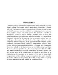 Complexity Theory: Classification of Problems