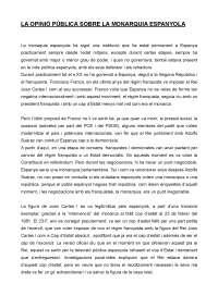Treball sobre la opinió de la Monarquia a Espanya segons el cis