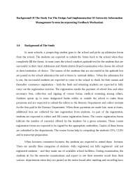 Background Of The Study For The Design And Implementation Of University Information Management System incorporating Feedback Mechanism
