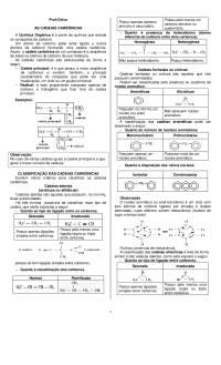 Resumo de Classificação de Cadeias Orgânicas - Classificação de Cadeias - Química Orgânica