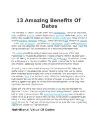 the benefits of dates for human life