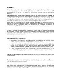pleadings in law and civil procedure