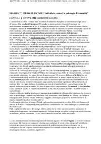 INDIVIDUI E CONTESTI IN PSICOLOGIA DI COMUNITA' - RIASSUNTO