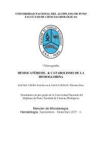 Principio y generalidades de la hemocateresis