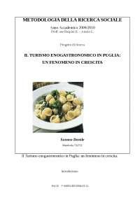 Il turismo enogastrnomico in Puglia: un fenomeno in crescita - Prof Ruspini Arosio
