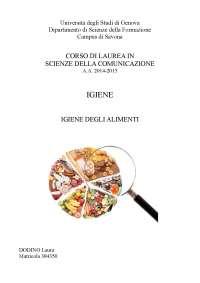Igiene degli alimenti - Sicurezza dei prodotti alimentari