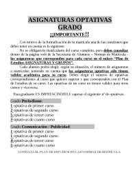 Guía optativas de GRADO, UNIVERSIDAD COMPLUTENSE DE MADRID (UCM)