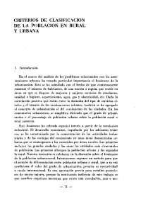 CRITERIOS DE CLASIFICACIÓN DE LA POBLACIÓN URBANA Y RURAL