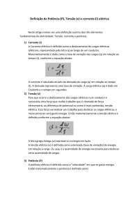 Apostila sobre Definição de Potência, tensão e corrente - Corrente e Tensão Elétrica - Eletrodinâmica