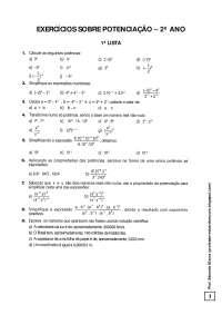 EXERCÍCIOS SOBRE POTENCIAÇÃO - Potenciação - Álgebra