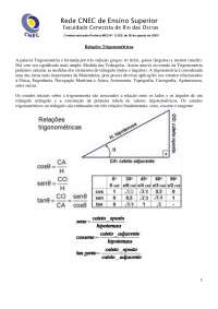Relatório Relações Trigonométricas - Relações Trigonométricas - Trigonometria