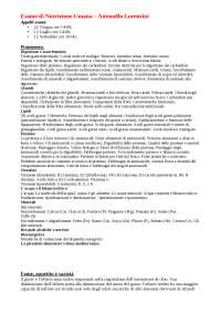 Appunti Esame Nutrizione Umana - Antonello Lorenzini Unibo