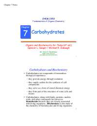 Carbohydrates notes for Bsc botany 1st year