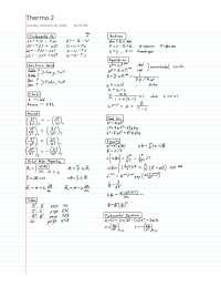 Thermodynamics 2 Cheat Sheet