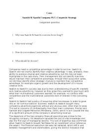 Saatchi&Saatchi answers to case study