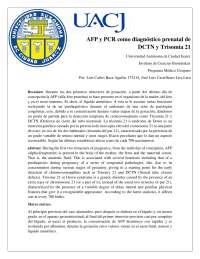 ALFA FETO PROTEINA, DIAGNOSTICO PARA DCTN Y TRISOMIA 21