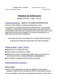 TP de Modelos de Enfermería - Modelo Roper-Logan-Tierney