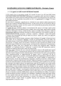 Lo spazio cavo e il corpo saturato Cesaro - Ferraro riassunto pdf