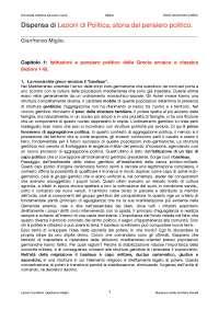 Dispensa di Lezioni di politica 1, G. Miglio, Storia del pensiero politico