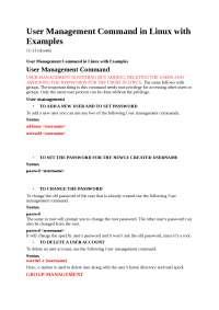 user management comands