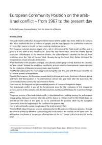 European community position on the arab-israel conflict