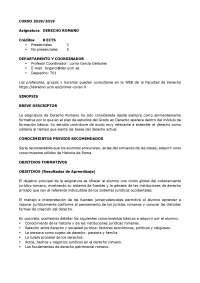 Guía docente Derecho Romano curso 2018/2019