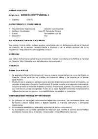 Guía docente Constitucional I curso 2018/2019