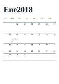 Calendar of the subject
