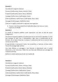Gestione della qualità delle imprese agroalimentari e base dei dati - Esercitazioni