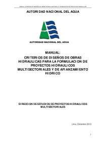 Diseño hidráulico Intitucion del Peru ANA