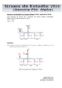 Ejercicio 3 de Equilibrio en Cuerpos Rígidos (Taller, Septiembre/2018)