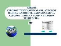 Презентация по предмету Информационные технологии на узбекском языке