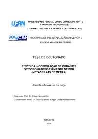 EFEITO DA INCORPORAÇÃO DE CORANTES FOTOCROMÁTICOS EM MATRIZ DE POLI(METACRILATO DE METILA)