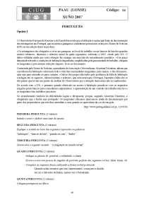Examen de Portugués - Selectividad Galicia - Curso 0607