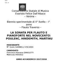 La sonata per Flauto e Pianoforte nel Novecento