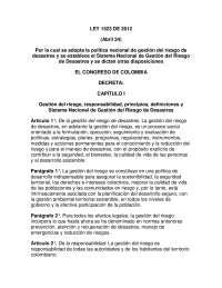 ley 1523 de 2012 gestion del riesgo y desastre