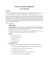 Law of Machines Assignments