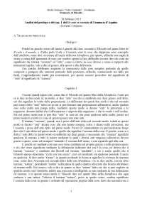 Capatano: analisi de ente et essentia: prologo e cap. 1