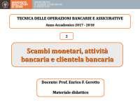 Tecnica delle Operazioni Bancarie e Assicurative, Slide di Tecnica Bancaria