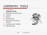 carpentry tools used in the workshop