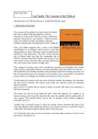Carl Smith: The Concept of the Political