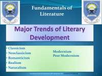 Major Trends of Literary Development