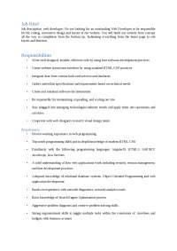 Job Description for web developer