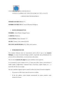PRACTICA DE BIOQUIMICA TOMA DE MUESTRAS BIOLOGICAS