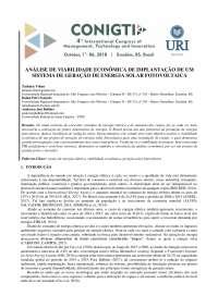 Análise de viabilidade econômica de implantação de um sistema de geração de energia fotovoltaica