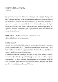 ECONOMIA SANITARIA Prof. Mennini