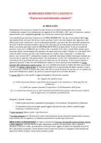 Appunti seminario di Diritto Canonico sul Processo Matrimoniale