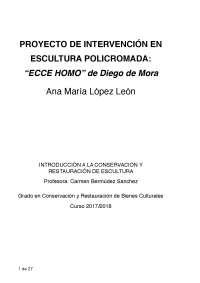 """Proyecto de intervención en escultura. """"Ecce homo"""" de Diego de Mora. Granada"""