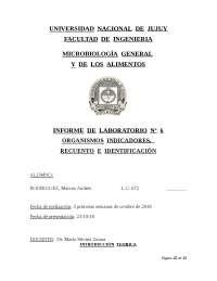 INFORME DE LABORATORIO DE INDICADORES DE SEGURIDAD MICROBIOLÓGICOS