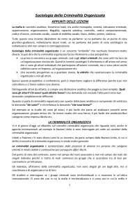 APPUNTI CORSO SOCIOLOGIA CRIMINALITA' ORGANIZZATA (Sciarrone)